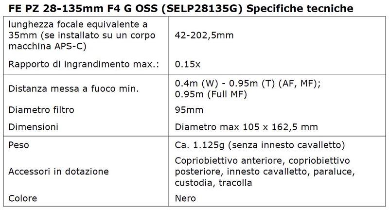 """sonyg3 12 09 14 - Sony FE PZ 28-135mm F4: ottica """"Full"""" motorizzata"""
