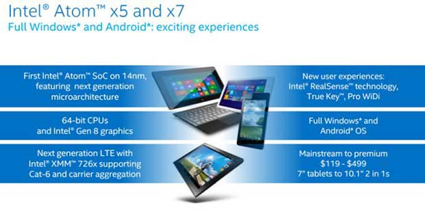 """intel2 02 03 15 - Intel: nuovi Atom """"mobile"""" X3, X5 e X7 per Win 10"""