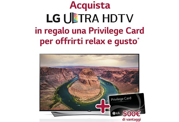 lg privilege card 11 05 2015 - LG: Privilege Card con servizi per 500€ se si acquista un TV UHD