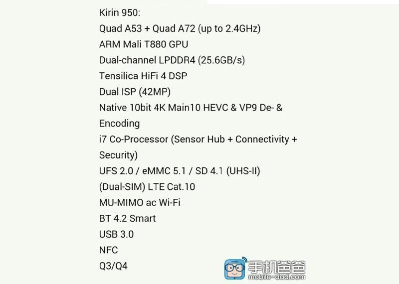 kirin 950 07 07 2015 - HiSilicon Kirin 950:  SoC octa-core 64 bit