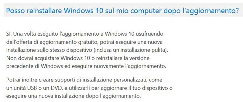"windows10 24 07 15 - Windows 10: saranno consentite installazioni ""pulite"""