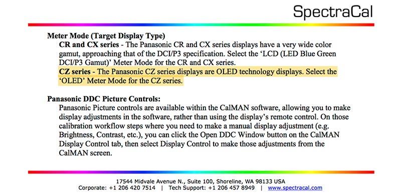 panasonic cz oled tv 14 08 2015 - Panasonic 65CZ950: OLED confermato da SpectraCAL?