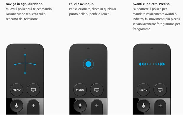 apple tv 7 09 09 2015 - Apple TV: telecomando con touchpad, tvOS e Siri