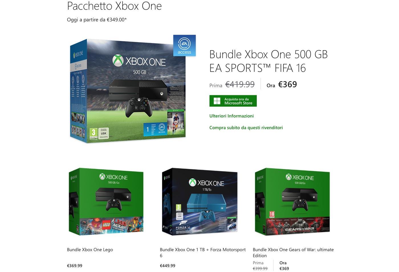 microsoft xbox one sconto 21 10 2015 - Xbox One: disponibile da 349€ sullo store Microsoft