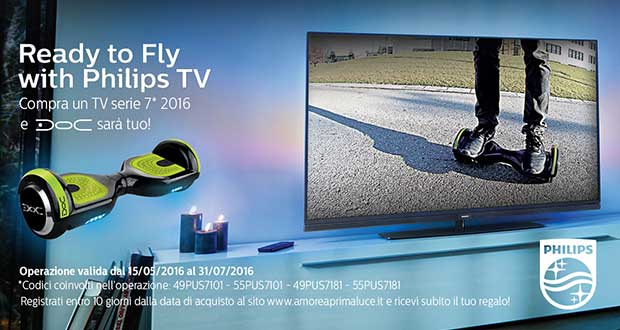 philipstv promozione 17 05 16 - Philips TV serie 7000 regala un hoverboard Nilox DOC