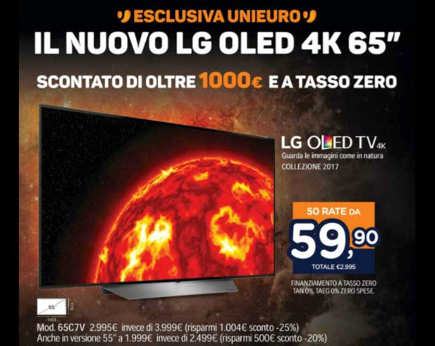 lg oled c7 offerta 1 26 09 17 - LG OLED C7 da 65 pollici a 2.995 Euro da Unieuro