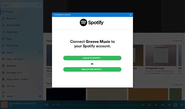 groovemusic spotify 1 03 10 17 - Microsoft: addio Groove Music, benvenuto Spotify
