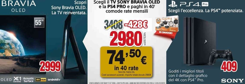 Sony A1 PS4 Pro - Sony: PS4 Pro gratis se si acquista un TV OLED A1