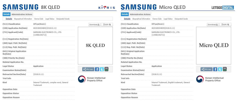 8Kqled microqled - Samsung registra i loghi Micro QLED e 8K QLED
