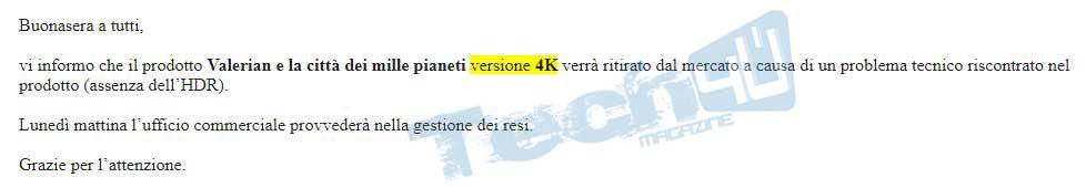valerian 4k ritirato 1 08 01 18 - Valerian UHD Blu-ray senza HDR ritirato ufficialmente dal mercato