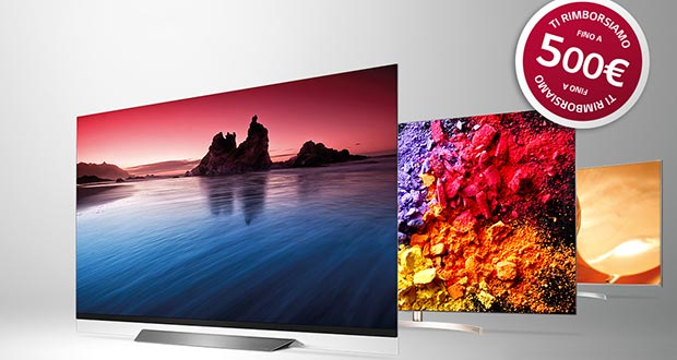 lg promo evi - LG OLED TV e LCD 2018: rimborsi fino a 500 Euro sull'acquisto