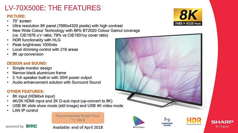 "sharp lv 70x500 - Sharp LV-70X500E: TV 8K 70"" da 12.000 Euro"