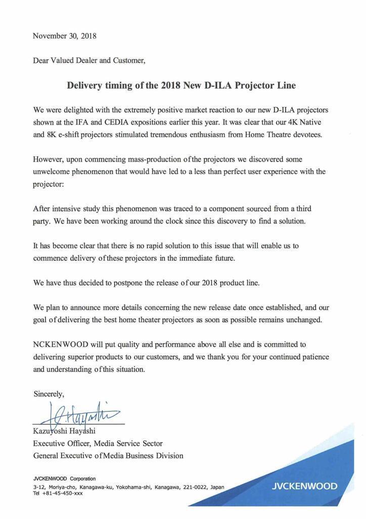 jvc comunicato proiettore - JVC: tutti i nuovi proiettori 4K rimandati al 2019